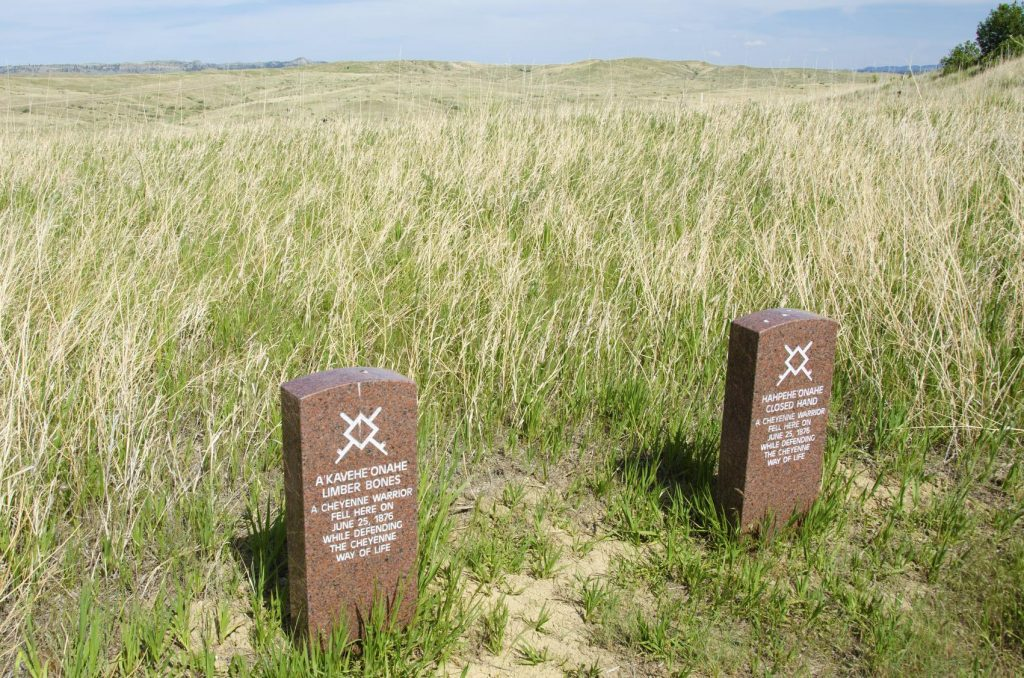 Crow Agency - United States, May 21, 2012: Two headstones mark the location where two Cheyenne warriors were killed on June 25, 1876 while defending their way of life. General George Armstrong Custer and 267 of his men were killed and 55 were injured when attacked by Lakota and Cheyenne warriors.