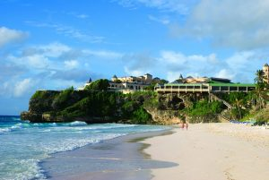 Crane Beach and the Crane Beach Hotel on the east coast of Barbados