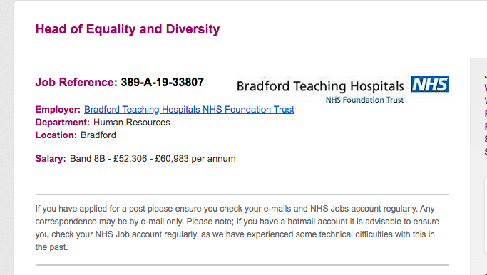 Head of Diversity and Equality at the NHS