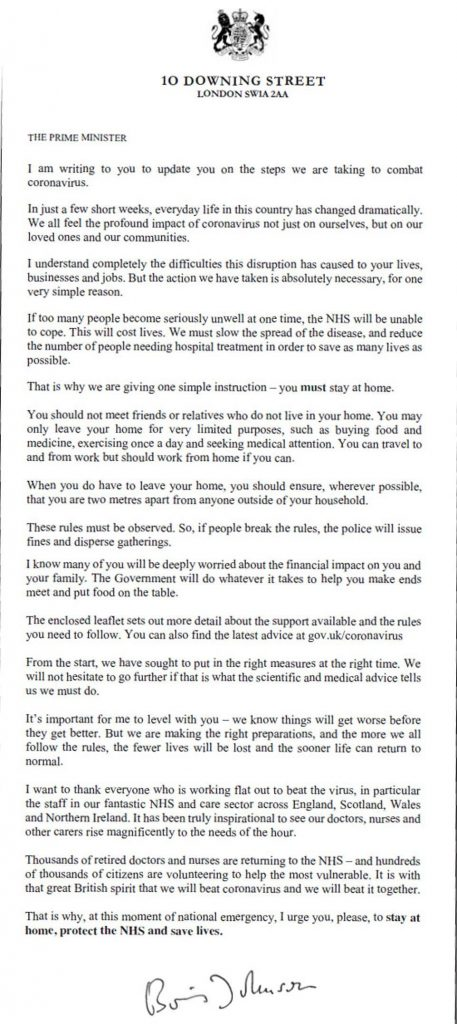 Boris Johnson's letter to every household in Britain